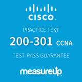 The MeasureUp 200-301: Cisco Certified Network Associate CCNA practice test. Pearson logo. MeasureUp logo