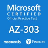The MeasureUp AZ-303: Microsoft Azure Architect Technologies practice test. Pearson logo. MeasureUp logo