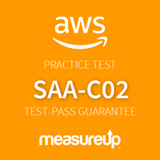 The MeasureUp SAA-C02: AWS Certified Solutions Architect - Associate practice test. Pearson logo. MeasureUp logo