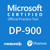 The MeasureUp DP-900: Microsoft Azure Data Fundamentals practice test. Pearson logo. MeasureUp logo