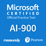 The MeasureUp AI-900: Microsoft Azure AI Fundamentals practice test. Pearson logo. MeasureUp logo
