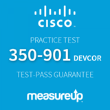 The MeasureUp 350-901 DEVCOR: Developing Applications using Cisco Core Platforms and APIs practice test. Pearson logo. MeasureUp logo.