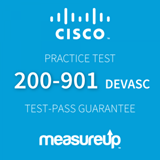 The MeasureUp 200-901: Cisco Certified DevNet Associate Certification practice test. Pearson logo. MeasureUp logo