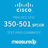 The MeasureUp 350-501 SPCOR: Implementing and Operating Cisco Service Provider Network Core Technologies practice test. Pearson logo. MeasureUp logo.