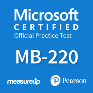 The MeasureUp MB-220: Microsoft Dynamics 365 Marketing practice test. Pearson logo. MeasureUp logo