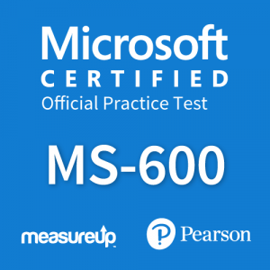 The MeasureUp MS-600: Building Applications and Solutions with Microsoft 365 Core Services practice test. Pearson logo. MeasureUp logo