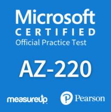 The MeasureUp AZ-220: Microsoft IoT Developer practice test. Pearson logo. MeasureUp logo