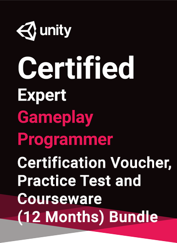 Unity Certified Expert Gameplay Programmer Bundle - certification, practice test, courseware (12 months) bundle