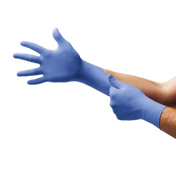 Sensation nitrile exam gloves on hands