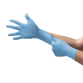 Light blue nitrile exam gloves on hands