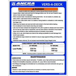Vers-A-Deck Operations and Maintenance Placard